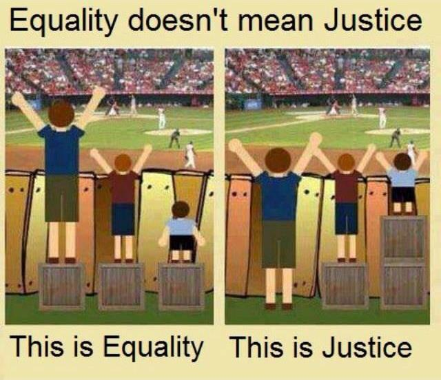 Equality doesn't mean Justice Thia is Equalirt This is Justice
